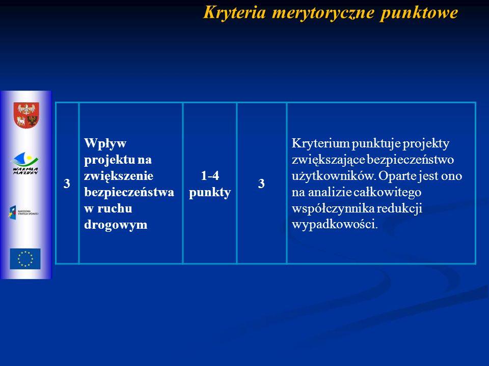 Kryteria merytoryczne punktowe 3 Wpływ projektu na zwiększenie bezpieczeństwa w ruchu drogowym 1-4 punkty 3 Kryterium punktuje projekty zwiększające bezpieczeństwo użytkowników.
