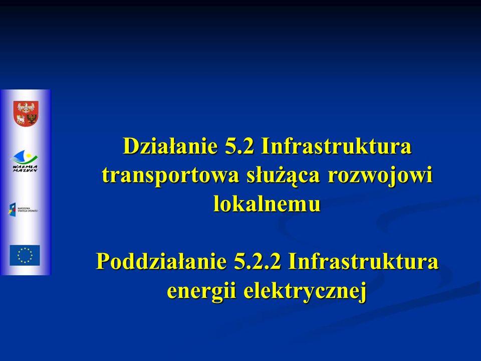 Działanie 5.2 Infrastruktura transportowa służąca rozwojowi lokalnemu Poddziałanie 5.2.2 Infrastruktura energii elektrycznej