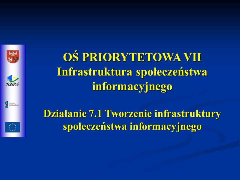 OŚ PRIORYTETOWA VII Infrastruktura społeczeństwa informacyjnego Działanie 7.1 Tworzenie infrastruktury społeczeństwa informacyjnego
