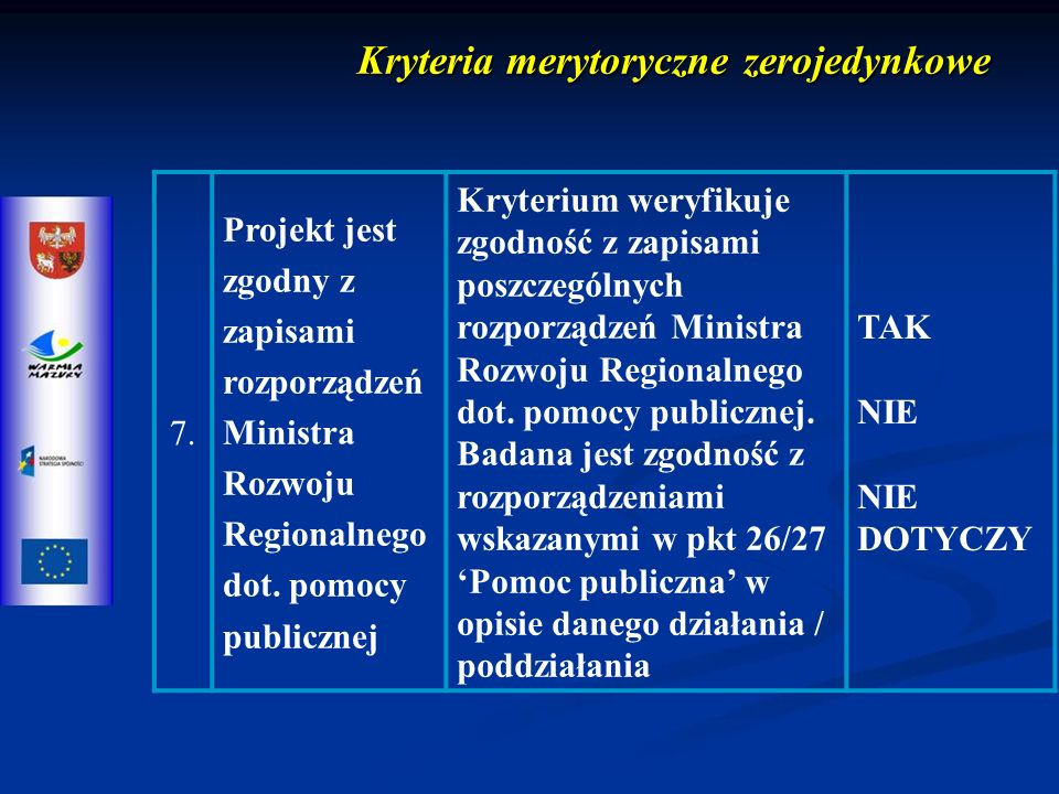 Kryteria merytoryczne zerojedynkowe 7.