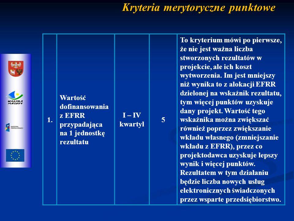 Kryteria merytoryczne punktowe 1.