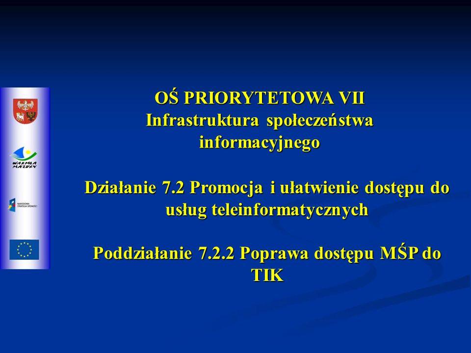 OŚ PRIORYTETOWA VII Infrastruktura społeczeństwa informacyjnego Działanie 7.2 Promocja i ułatwienie dostępu do usług teleinformatycznych Poddziałanie 7.2.2 Poprawa dostępu MŚP do TIK