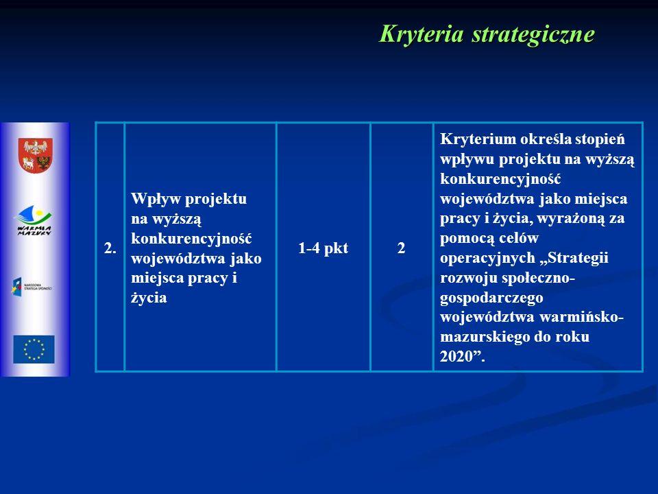 2. Wpływ projektu na wyższą konkurencyjność województwa jako miejsca pracy i życia 1-4 pkt2 Kryterium określa stopień wpływu projektu na wyższą konkur