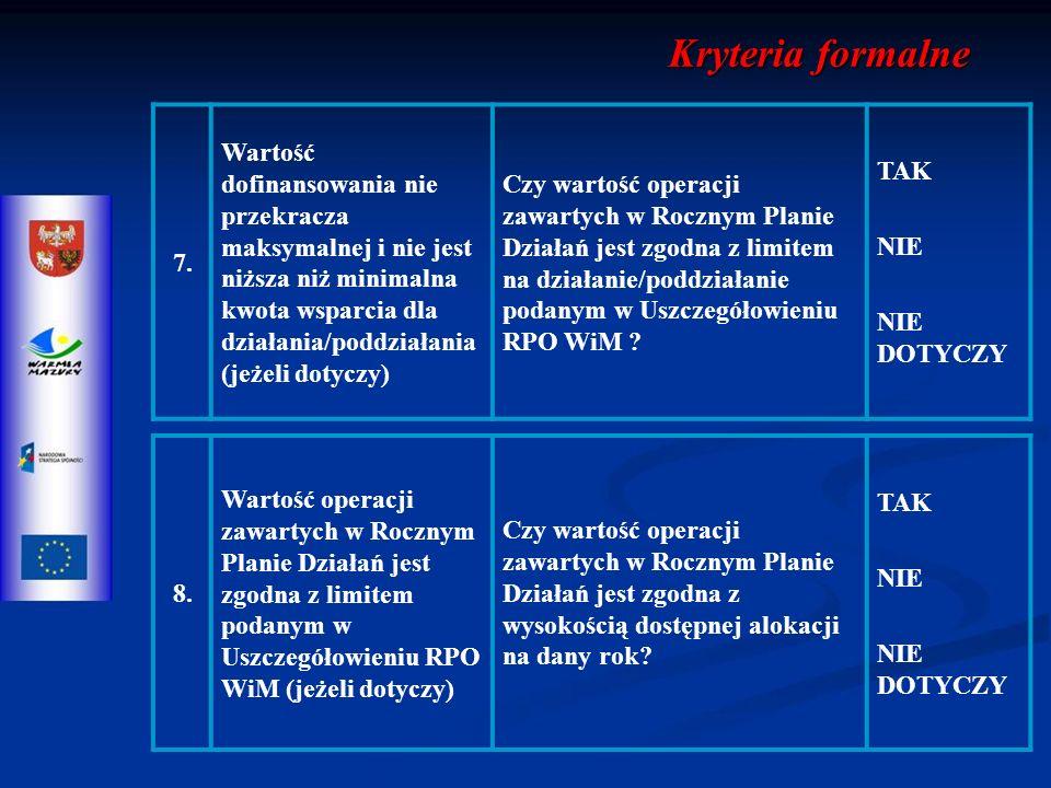 8. Wartość operacji zawartych w Rocznym Planie Działań jest zgodna z limitem podanym w Uszczegółowieniu RPO WiM (jeżeli dotyczy) Czy wartość operacji