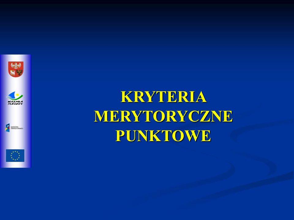 KRYTERIA MERYTORYCZNE PUNKTOWE