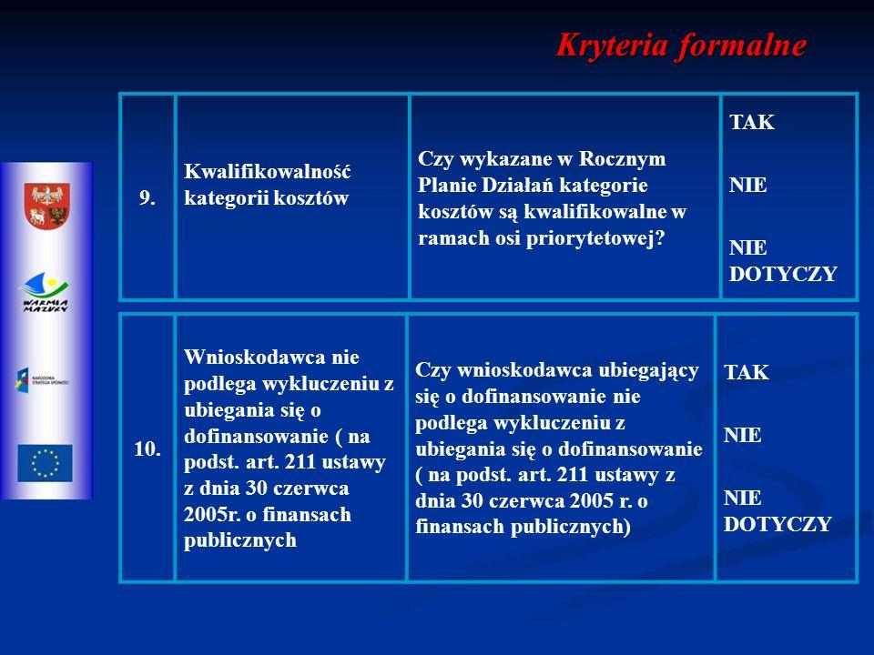 10. Wnioskodawca nie podlega wykluczeniu z ubiegania się o dofinansowanie ( na podst.