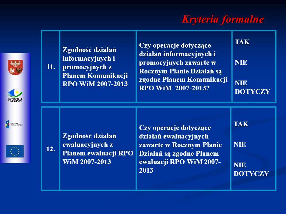 12. Zgodność działań ewaluacyjnych z Planem ewaluacji RPO WiM 2007-2013 Czy operacje dotyczące działań ewaluacyjnych zawarte w Rocznym Planie Działań