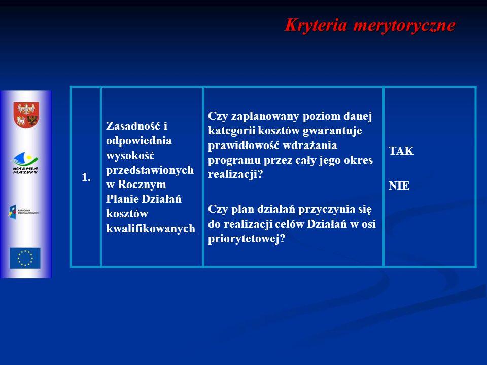 Kryteria merytoryczne 1.