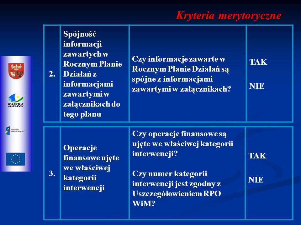 2. Spójność informacji zawartych w Rocznym Planie Działań z informacjami zawartymi w załącznikach do tego planu Czy informacje zawarte w Rocznym Plani