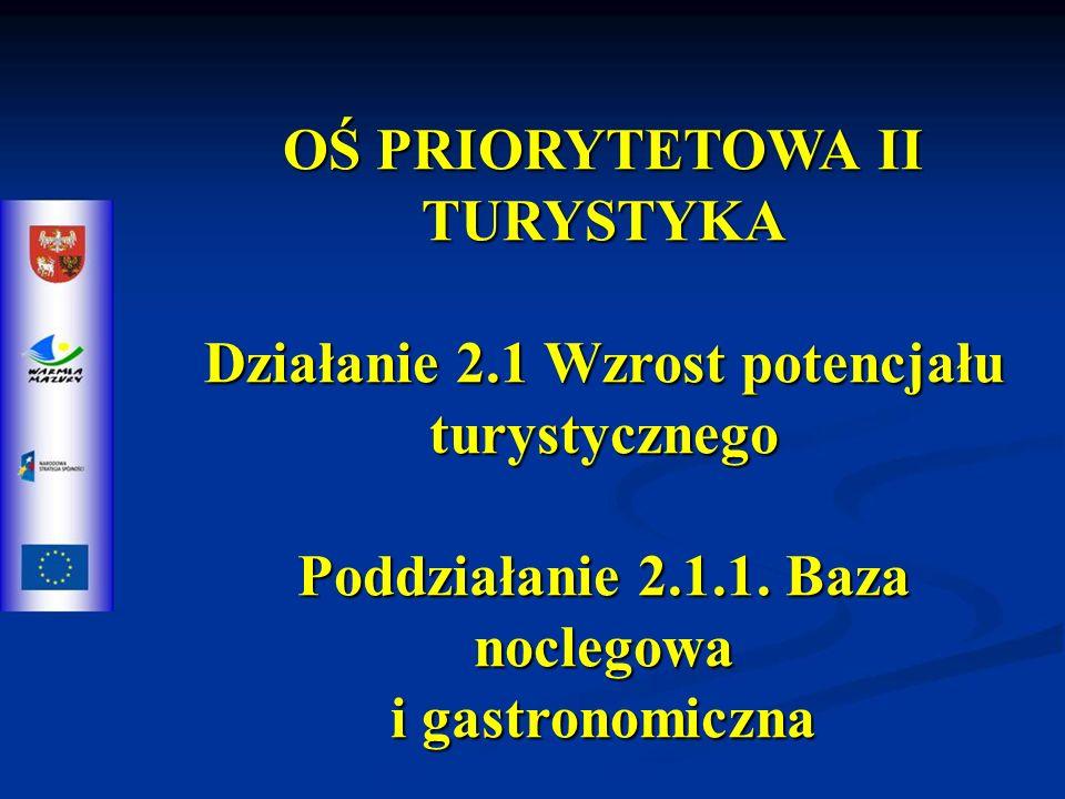 OŚ PRIORYTETOWA II TURYSTYKA Działanie 2.1 Wzrost potencjału turystycznego Poddziałanie 2.1.1.