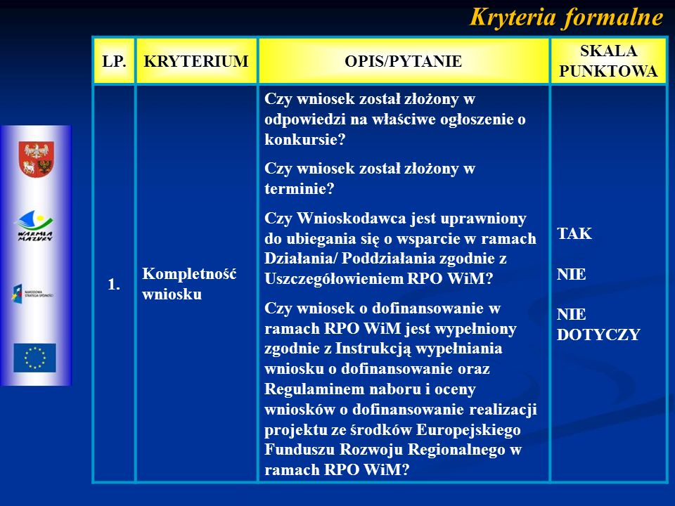 Kryteria merytoryczne punktowe L P.