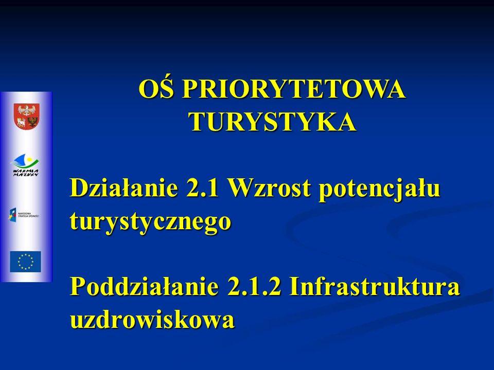 OŚ PRIORYTETOWA TURYSTYKA Działanie 2.1 Wzrost potencjału turystycznego Poddziałanie 2.1.2 Infrastruktura uzdrowiskowa