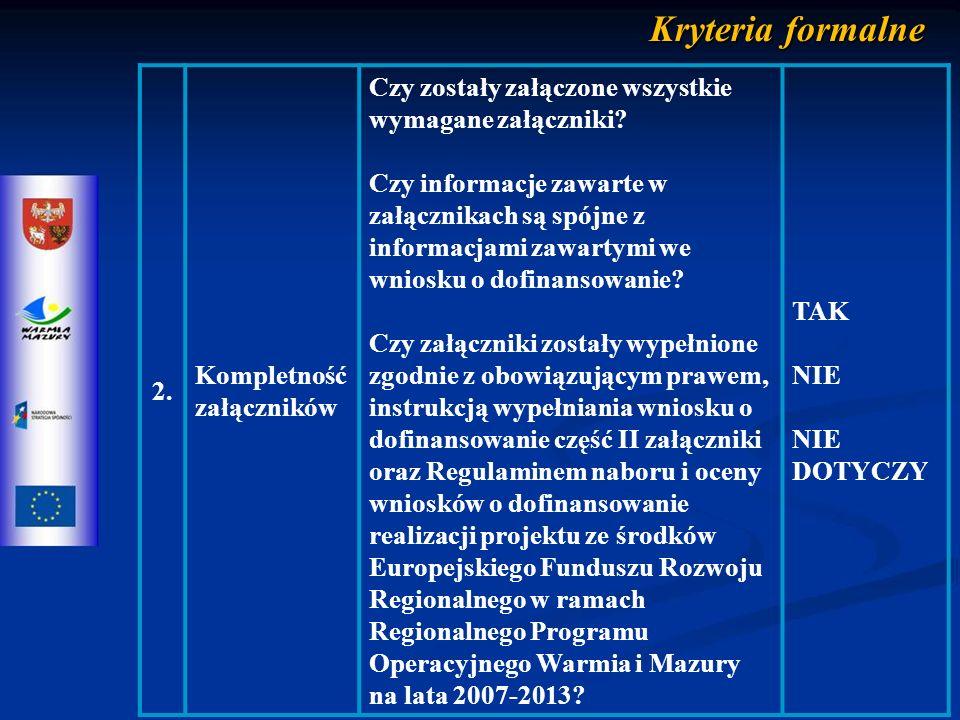 Kryteria merytoryczne zerojedynkowe 5.