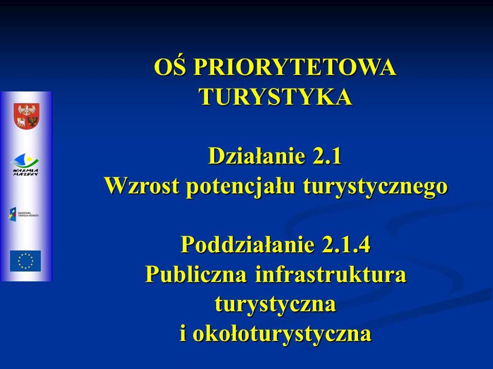 OŚ PRIORYTETOWA TURYSTYKA Działanie 2.1 Wzrost potencjału turystycznego Poddziałanie 2.1.4 Publiczna infrastruktura turystyczna i okołoturystyczna