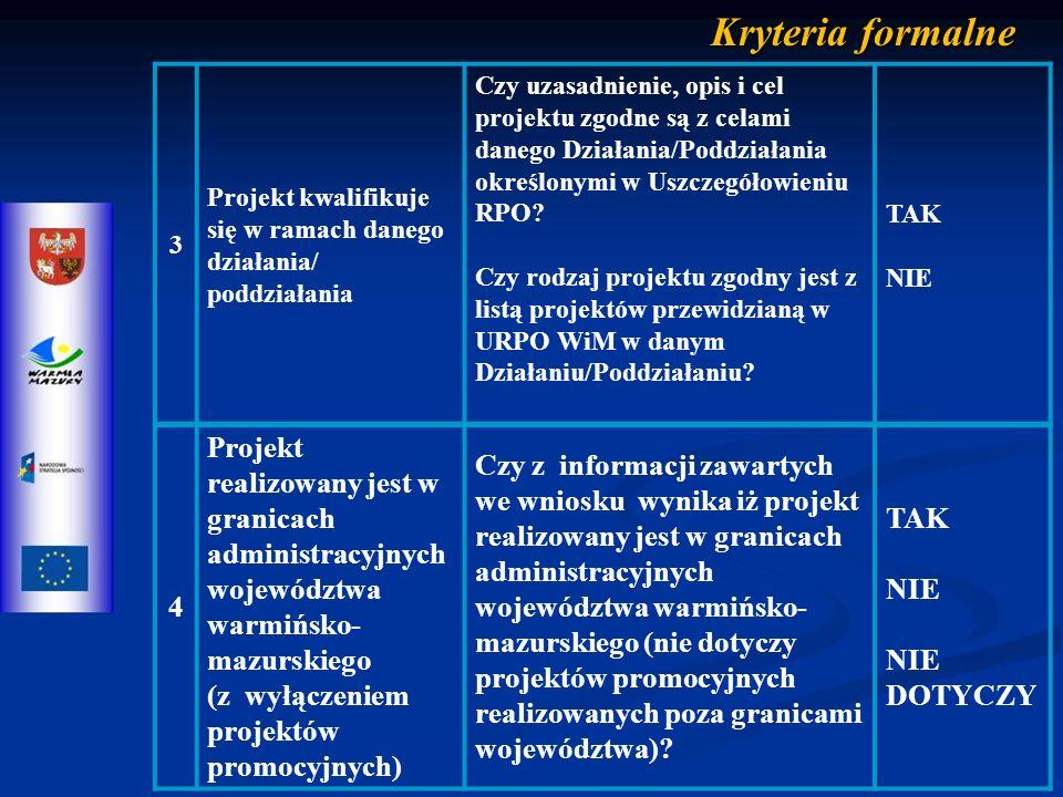4 Projekt realizowany jest w granicach administracyjnych województwa warmińsko- mazurskiego (z wyłączeniem projektów promocyjnych) Czy z informacji zawartych we wniosku wynika iż projekt realizowany jest w granicach administracyjnych województwa warmińsko- mazurskiego (nie dotyczy projektów promocyjnych realizowanych poza granicami województwa).