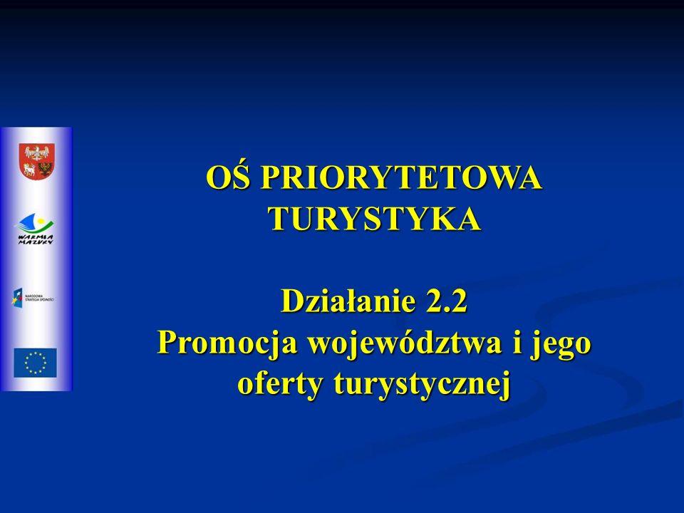 OŚ PRIORYTETOWA TURYSTYKA Działanie 2.2 Promocja województwa i jego oferty turystycznej