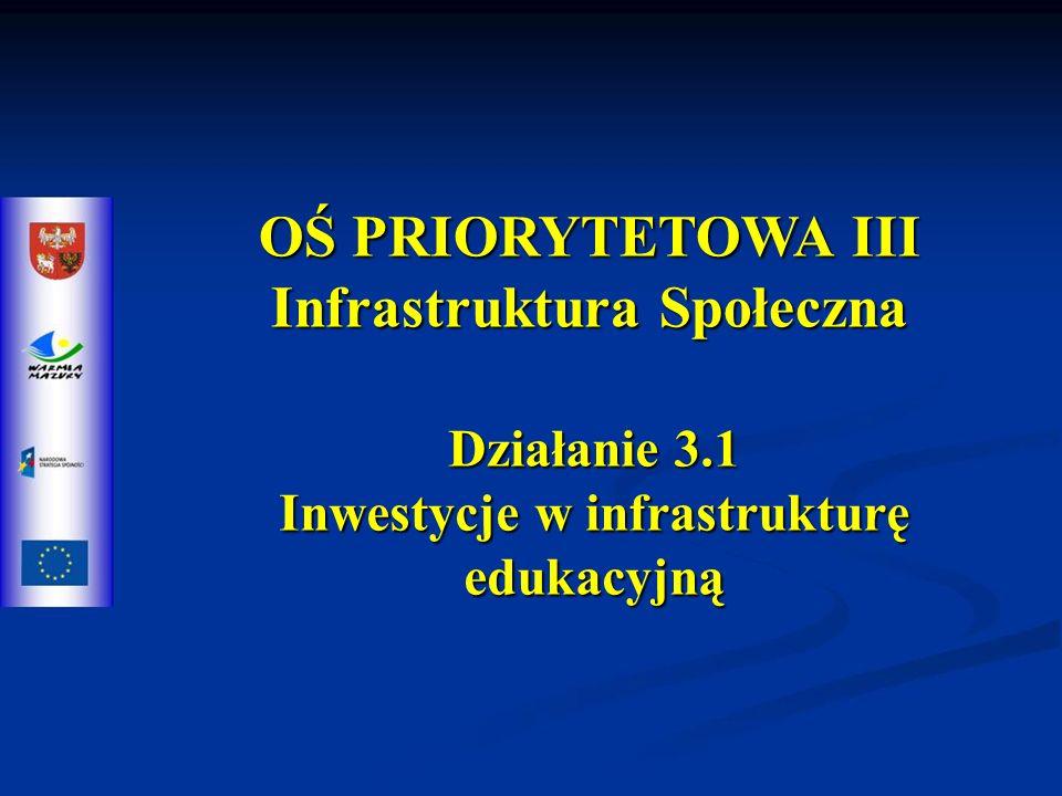 OŚ PRIORYTETOWA III Infrastruktura Społeczna Działanie 3.1 Inwestycje w infrastrukturę edukacyjną