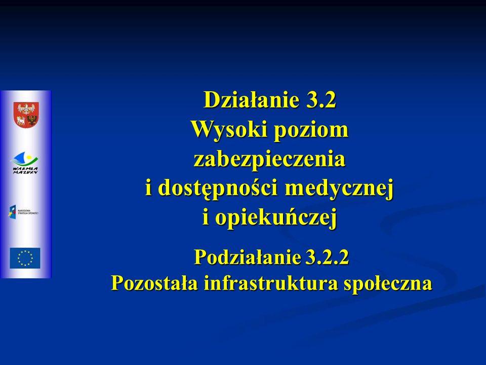 Działanie 3.2 Wysoki poziom zabezpieczenia i dostępności medycznej i opiekuńczej Podziałanie 3.2.2 Pozostała infrastruktura społeczna