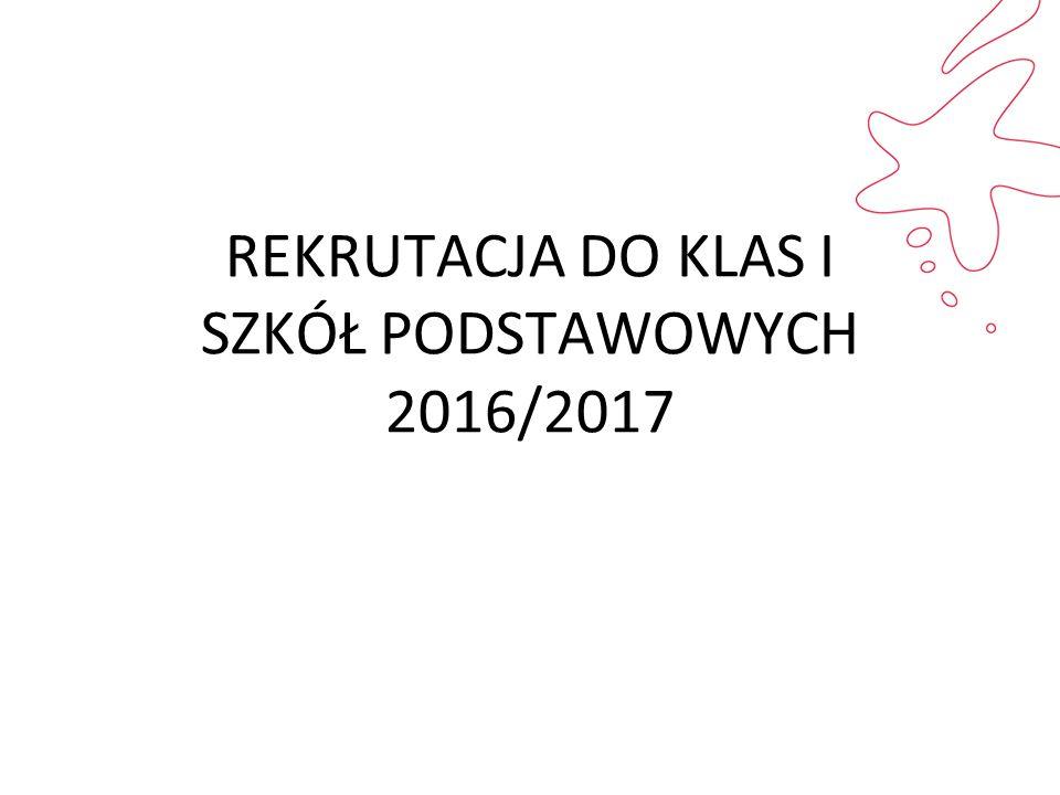 REKRUTACJA DO KLAS I SZKÓŁ PODSTAWOWYCH 2016/2017