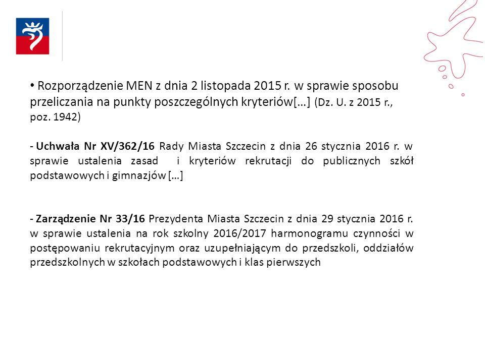 Rozporządzenie MEN z dnia 2 listopada 2015 r. w sprawie sposobu przeliczania na punkty poszczególnych kryteriów[…] (Dz. U. z 2015 r., poz. 1942) - Uch