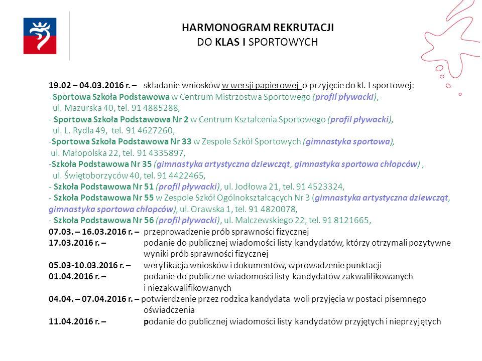 19.02 – 04.03.2016 r. – składanie wniosków w wersji papierowej o przyjęcie do kl. I sportowej: - Sportowa Szkoła Podstawowa w Centrum Mistrzostwa Spor