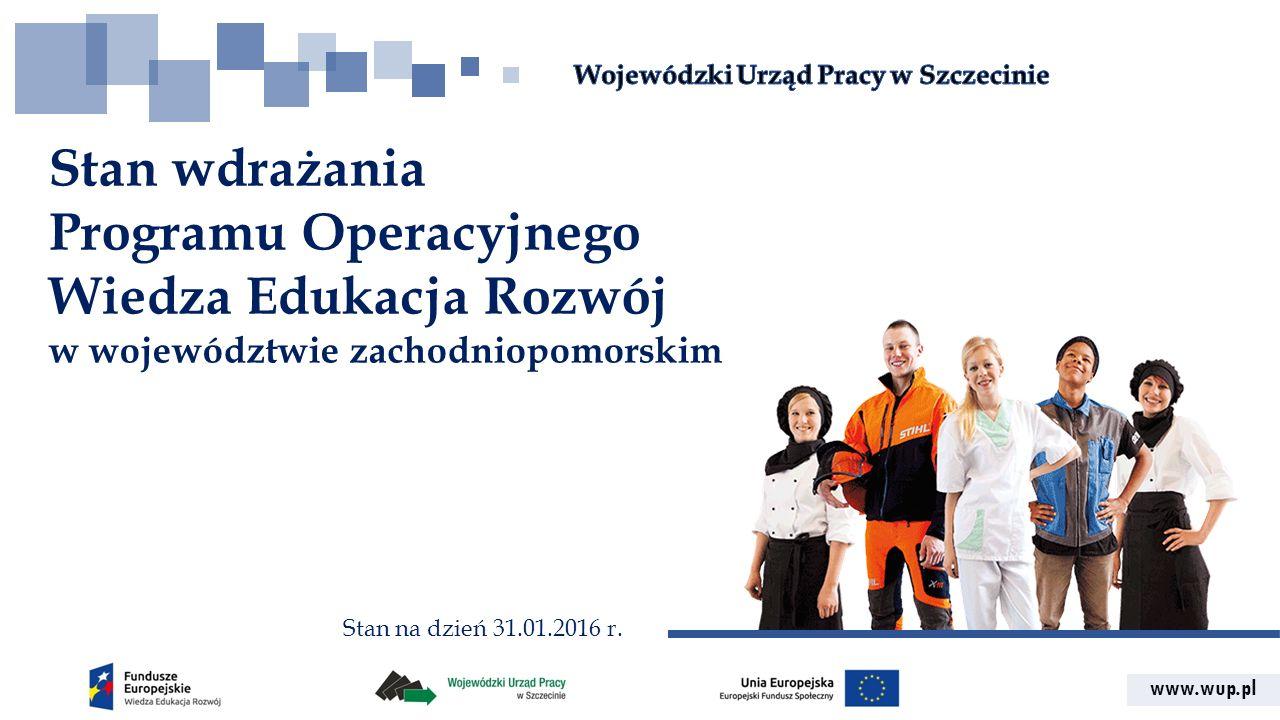 www.wup.pl Stan wdrażania Programu Operacyjnego Wiedza Edukacja Rozwój w województwie zachodniopomorskim Stan na dzień 31.01.2016 r.