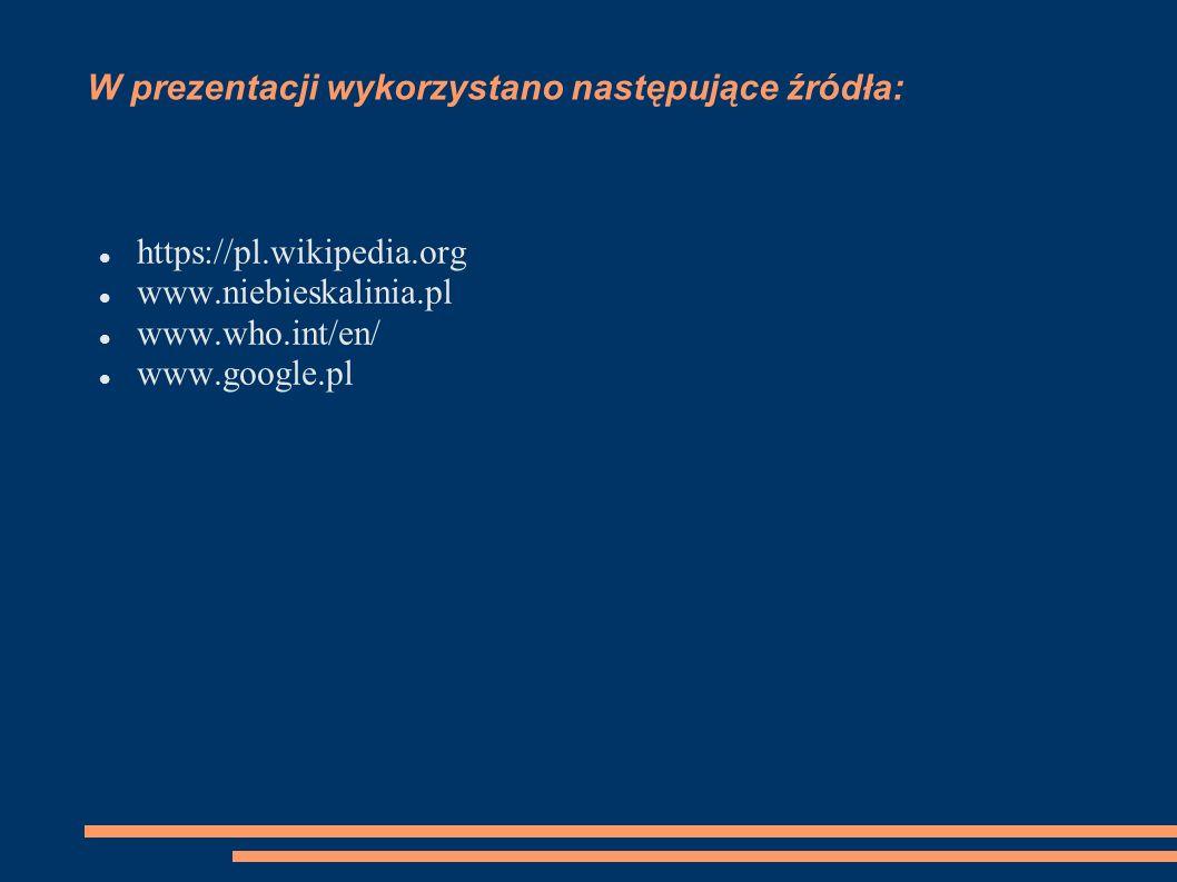 W prezentacji wykorzystano następujące źródła: https://pl.wikipedia.org www.niebieskalinia.pl www.who.int/en/ www.google.pl