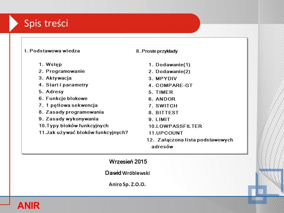 ANIR O Dawid Wróblewski Aniro Sp. Z.O.O. Wrzesień 2015 Ⅰ.