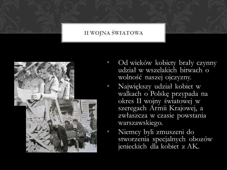 W II Rzeczypospolitej ustawa Sejmu RP w kwietniu 1938 o powszechnym obowiązku wojskowym ustaliła prawa kobiet do pełnienia pomocniczej służby wojskowej w zakresie m.in.