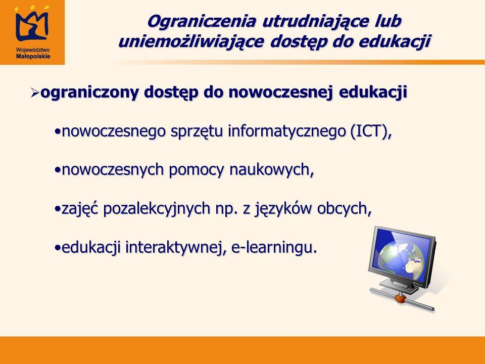 ograniczony dostęp do nowoczesnej edukacji  ograniczony dostęp do nowoczesnej edukacji nowoczesnego sprzętu informatycznego (ICT),nowoczesnego sprzętu informatycznego (ICT), nowoczesnych pomocy naukowych,nowoczesnych pomocy naukowych, zajęć pozalekcyjnych np.