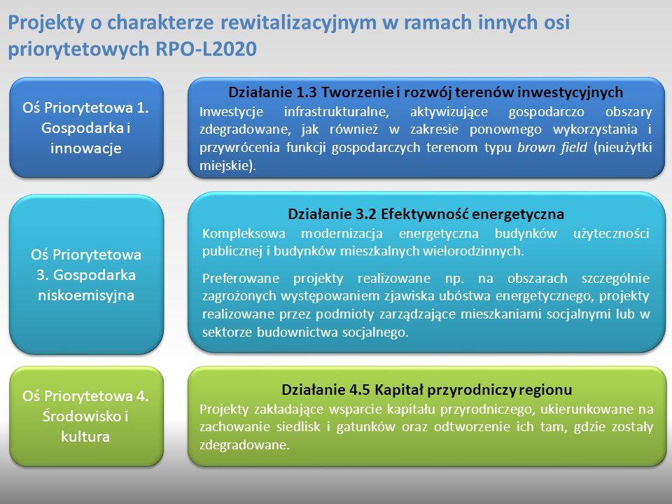 Projekty o charakterze rewitalizacyjnym w ramach innych osi priorytetowych RPO-L2020 Działanie 1.3 Tworzenie i rozwój terenów inwestycyjnych Inwestycje infrastrukturalne, aktywizujące gospodarczo obszary zdegradowane, jak również w zakresie ponownego wykorzystania i przywrócenia funkcji gospodarczych terenom typu brown field (nieużytki miejskie).