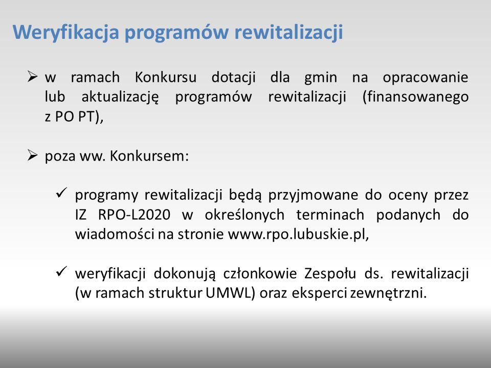 Weryfikacja programów rewitalizacji  w ramach Konkursu dotacji dla gmin na opracowanie lub aktualizację programów rewitalizacji (finansowanego z PO PT),  poza ww.