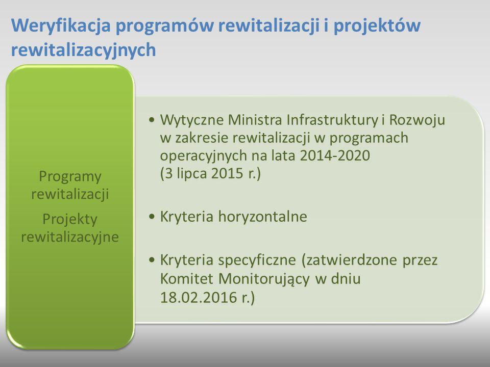 Weryfikacja programów rewitalizacji i projektów rewitalizacyjnych Wytyczne Ministra Infrastruktury i Rozwoju w zakresie rewitalizacji w programach operacyjnych na lata 2014-2020 (3 lipca 2015 r.) Kryteria horyzontalne Kryteria specyficzne (zatwierdzone przez Komitet Monitorujący w dniu 18.02.2016 r.) Programy rewitalizacji Projekty rewitalizacyjne