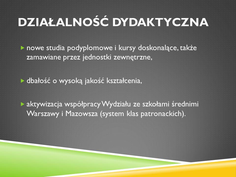 DZIAŁALNOŚĆ DYDAKTYCZNA  nowe studia podyplomowe i kursy doskonalące, także zamawiane przez jednostki zewnętrzne,  dbałość o wysoką jakość kształcenia,  aktywizacja współpracy Wydziału ze szkołami średnimi Warszawy i Mazowsza (system klas patronackich).
