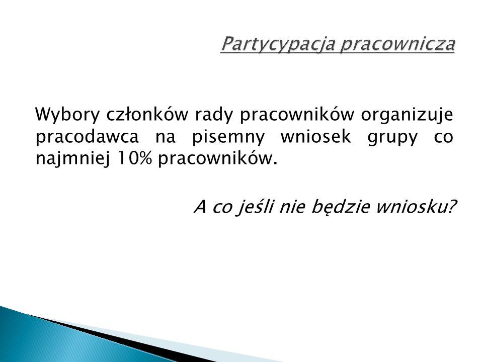 Wybory członków rady pracowników organizuje pracodawca na pisemny wniosek grupy co najmniej 10% pracowników.