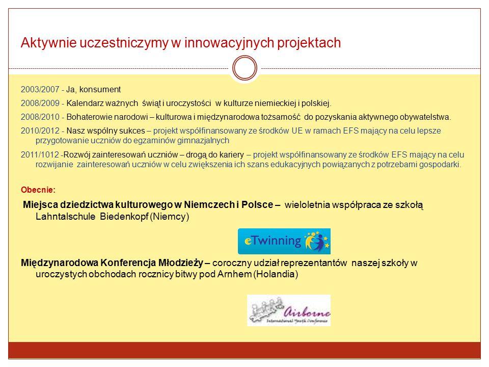 Aktywnie uczestniczymy w innowacyjnych projektach 2003/2007 - Ja, konsument 2008/2009 - Kalendarz ważnych świąt i uroczystości w kulturze niemieckiej i polskiej.