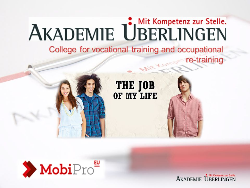 """MobiPro """"The Job of my life Federalne Ministerstwo Pracy i Spraw Społecznych oraz Federalna Agencja Zatrudnienia składają niniejszą ofertę: MobiPro 'The Job of my Life' promuje projekty, które kwalifikują i zapewniają pomoc młodym ludziom z Europy tak aby mogli z sukcesem skończyć wspólnie (zarówno) edukację i szkolenie zawodowe w Niemczech."""