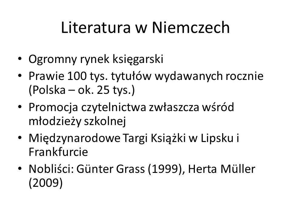 Literatura w Niemczech Ogromny rynek księgarski Prawie 100 tys. tytułów wydawanych rocznie (Polska – ok. 25 tys.) Promocja czytelnictwa zwłaszcza wśró