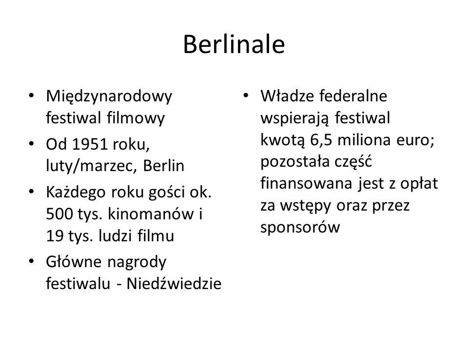 Berlinale Międzynarodowy festiwal filmowy Od 1951 roku, luty/marzec, Berlin Każdego roku gości ok. 500 tys. kinomanów i 19 tys. ludzi filmu Główne nag