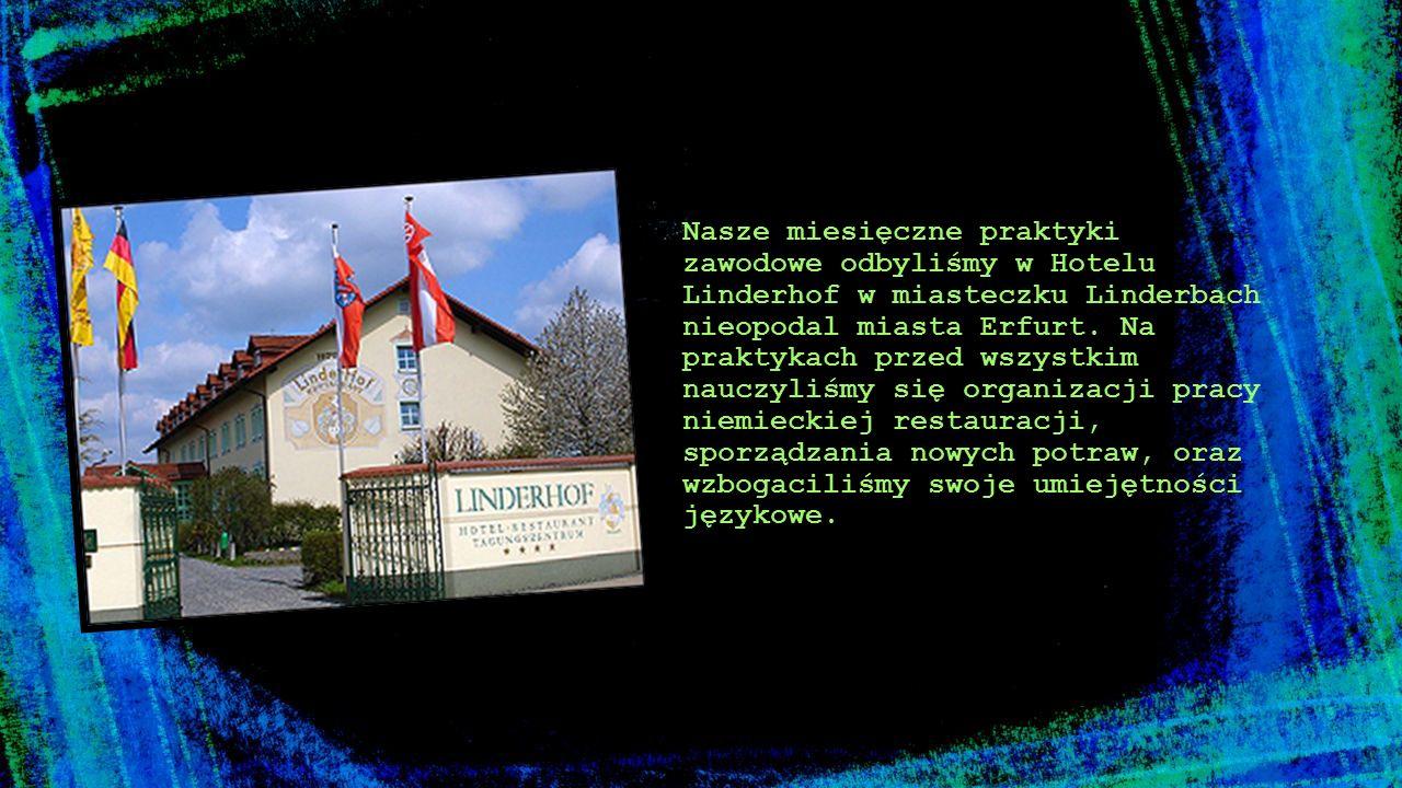 Nasze miesięczne praktyki zawodowe odbyliśmy w Hotelu Linderhof w miasteczku Linderbach nieopodal miasta Erfurt.