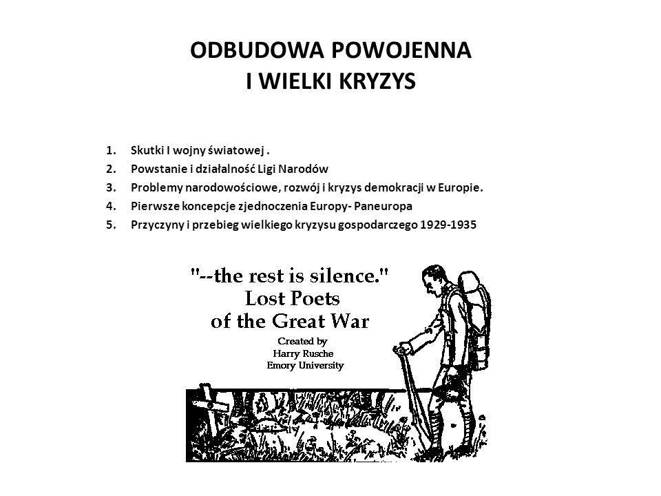 ODBUDOWA POWOJENNA I WIELKI KRYZYS 1.Skutki I wojny światowej.