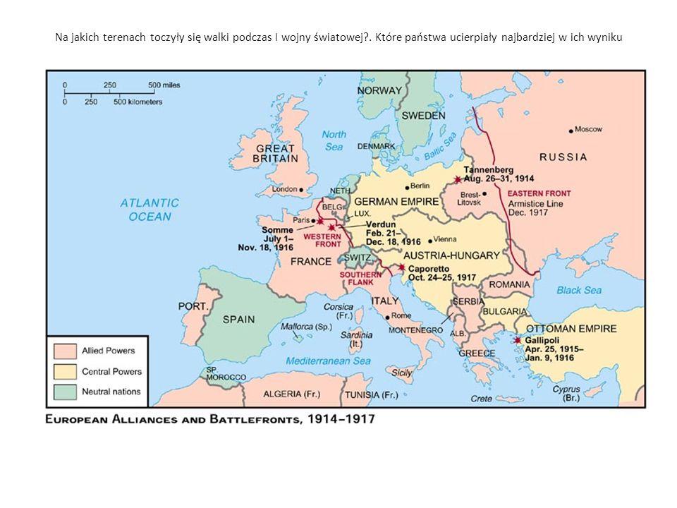 Na jakich terenach toczyły się walki podczas I wojny światowej?.