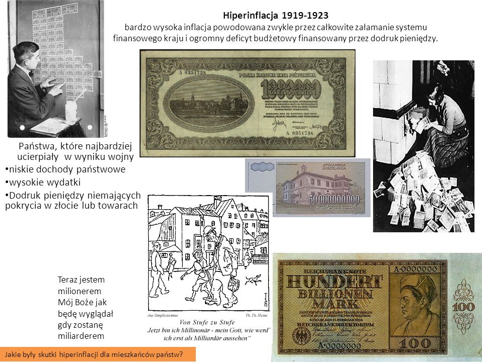 Hiperinflacja 1919-1923 bardzo wysoka inflacja powodowana zwykle przez całkowite załamanie systemu finansowego kraju i ogromny deficyt budżetowy finansowany przez dodruk pieniędzy.