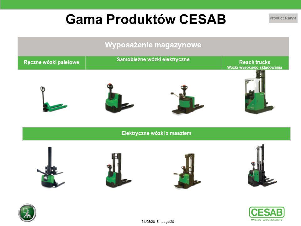 31/05/2016 - page 20 Wyposażenie magazynowe Ręczne wózki paletowe Samobieżne wózki elektryczne Reach trucks Wózki wysokiego składowania Product Range Elektryczne wózki z masztem Gama Produktów CESAB
