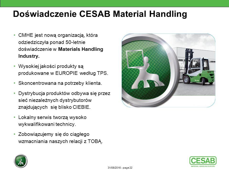 31/05/2016 - page 22 CMHE jest nową organizacją, która odziedziczyła ponad 50-letnie doświadczenie w Materials Handling Industry.