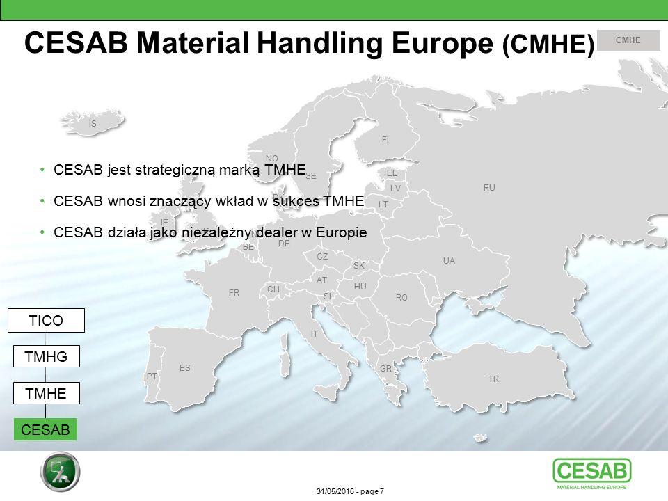 31/05/2016 - page 7 CESAB jest strategiczną marką TMHE CESAB wnosi znaczący wkład w sukces TMHE CESAB działa jako niezależny dealer w Europie CESAB Material Handling Europe (CMHE) CMHE TICO TMHG CESAB TMHE