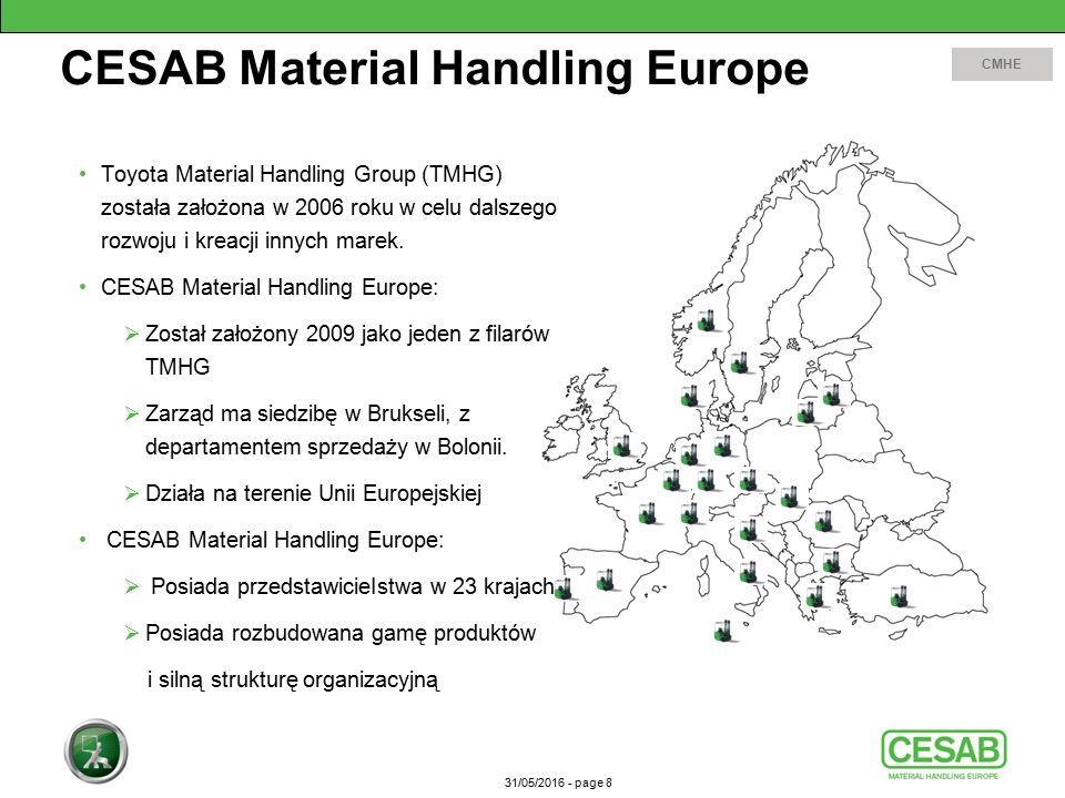 31/05/2016 - page 8 CESAB Material Handling Europe CMHE Toyota Material Handling Group (TMHG) została założona w 2006 roku w celu dalszego rozwoju i kreacji innych marek.