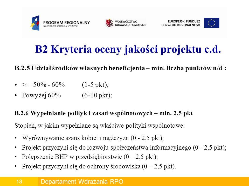 B2 Kryteria oceny jakości projektu c.d.B.2.5 Udział środków własnych beneficjenta – min.