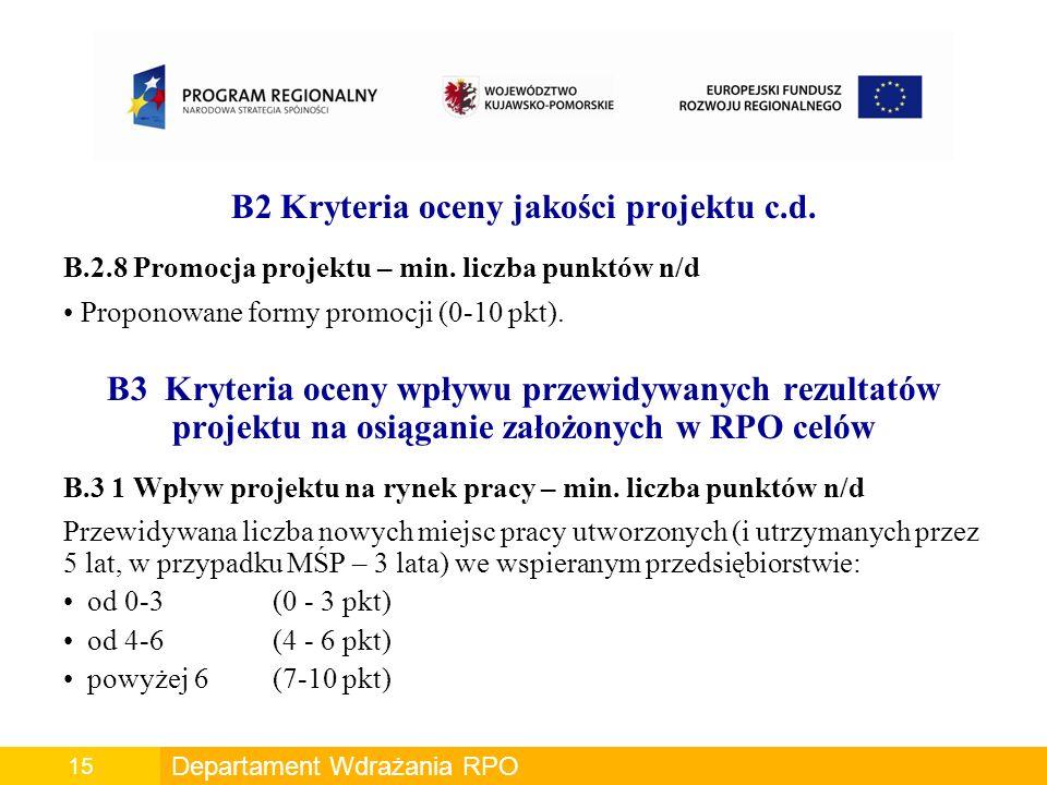 B2 Kryteria oceny jakości projektu c.d.B.2.8 Promocja projektu – min.