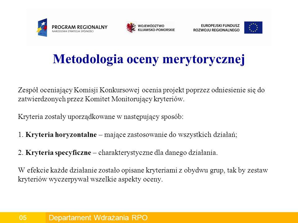Metodologia oceny merytorycznej Zespół oceniający Komisji Konkursowej ocenia projekt poprzez odniesienie się do zatwierdzonych przez Komitet Monitorujący kryteriów.